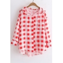 Plaid Printed Buttons Down 3/4 Length Sleeve Hooded Sun Proof Coat