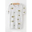 Cute Bee Printed Round Neck Short Sleeve Tee
