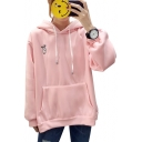 Cute Rabbit Embroidered Long Sleeve Ears Embellished Hood Loose Hoodie