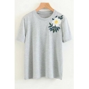 Casual Floral Embroidered Round Neck Short Sleeve Tee