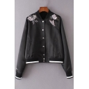 Floral Butterfly Embroidered Contrast Striped Stand Up Collar Log Sleeve Buttons Down Baseball Jacket