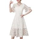 Leaf Pattern V Neck Short Sleeve Midi A-Line Lace Dress