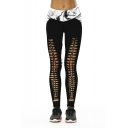 Smoke Printed Color Block Hollow Out Detail Skinny Leggings