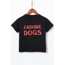 J'ADORE DOGS Letter Printed Round Neck Short Sleeve Crop Tee