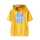 SANA Letter Graphic Printed Short Sleeve Hooded Tee
