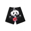 Black Classic Cop Panda Print Swim Trunks Shorts for Men with Drain Hole and Drawcord