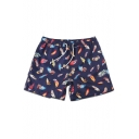 Unique Men's Navy Blue Drawcord Feather Printed Swim Shorts with Hook and Loop Pockets