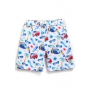 Cool Big and Tall Drawcord White Men's Floral Palm Stretch Swimming Trunks with Mesh Lining