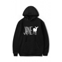 JANE Letter Animal Printed Long Sleeve Hoodie