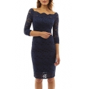 Off The Shoulder Long Sleeve Plain Slim Midi Pencil Lace Dress