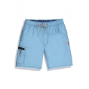 Bright Blue Elastic Drawstring Fast Drying Plain Cargo Swim Shorts Trunks with Pockets without Mesh Lining