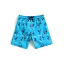 Mens Designer Blue Fast Drying Stretch Drawstring Flamingo Bathing Trunks with Liner