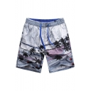 Trendy Big and Tall Elastic Fast Drying Gray Male Palm Tree Plant Swim Trunks with Hook and Loop Pockets