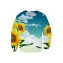 Sunflower Sky Pattern Round Neck Long Sleeve Unisex Pullover Sweatshirt