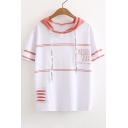 GIRLS TALK Letter Striped Printed Short Sleeve Color Block Hooded Tee