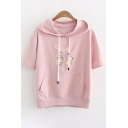 Bear Heart Letter Embroidered Short Sleeve Hooded Tee