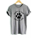 Dog's Paw Letter Printed Round Neck Short Sleeve Tee