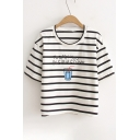 Drink Letter Printed Round Neck Short Sleeve Striped Tee