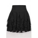 Pleated Plain Elastic Waist Mini Chiffon Skirt