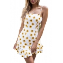 Sun Floral Printed Spaghetti Straps Sleeveless Asymmetric Hem Ruffle Detail Mini Cami Dress