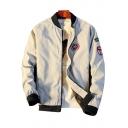 Cactus Badge Printed Stand Up Collar Long Sleeve Zip Up Baseball Jacket