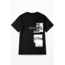 NEW MOMENT Letter Dog Printed Round Neck Short Sleeve Tee