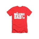 THE WALKING DAD Letter Printed Round Neck Short Sleeve Tee