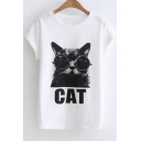 Glasses Cat Letter Printed Round Neck Short Sleeve Tee