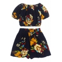 Floral Printed Off The Shoulder Short Sleeve Crop Top with Elastic Waist Loose Shorts Co-ords