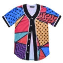 Color Block Geometric Printed Short Sleeve Buttons Down Baseball Tee