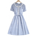 Check Print Frill Collar Gathered Waist Single Breasted Button Short Sleeve Dress