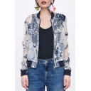 Floral Organza Embroidered Stand Collar Cropped Coat