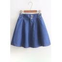 Plain Elastic Waist Mini A-Line Denim Skirt