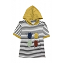 Cat MEOW Embroidered Short Sleeve Color Block Striped Hooded Tee