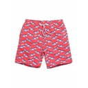 Mens Red Drawstring Stretch All Over Board Pattern Swim Shorts with Hook and Loop Pockets