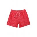Mens Heathered Red Elastic Drawstring Fast Drying Plain Swim Trunks Short Swimwear with Pockets