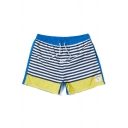 Classic Quick Drying Drawstring Blue and Yellow Striped Pattern Swim Trunks for Male with Pockets