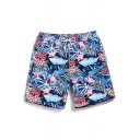 Quick Dry Hot Summer Blue Short Tropical Pattern Stretch Beachwear for Men with Brief Liner