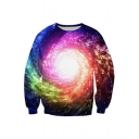 Chic Whirlpools Galaxy Print Round Neck Long Sleeve Pullover Sweatshirt