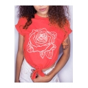 Chic Floral Rose Print Knotted Front Detail Short Sleeve Leisure Tee