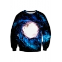 Spiral Starry Sky Pattern Long Sleeve Pullover Sweatshirt for Couple