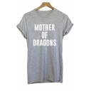 Unique MOTHER DRAGONS Letter Pattern Short Sleeve Summer Hot Tee Top