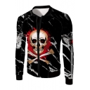 Skull Letter Printed Zip Up Stand Up Collar Long Sleeve Jacket