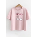 Letter Rabbit Printed Round Neck Short Sleeve Tee