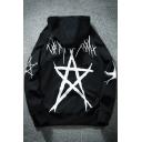 Pentagram Printed Long Sleeve Zipper Embellished Hoodie