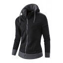Color Block Long Sleeve Zip Up Hoodie with Pockets