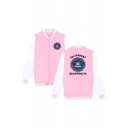 Letter Badge Printed Long Sleeve Stand Up Collar Baseball Jacket