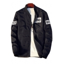 Letter Printed Stand Up Collar Long Sleeve Zip Up Baseball Jacket