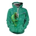 3D Lizard Printed Long Sleeve Hoodie
