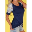 Lace Insert Raglan Short Sleeve Round Neck Slim Tee